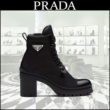 Prada☆Brushed leather and nylon laced booties☆送料込
