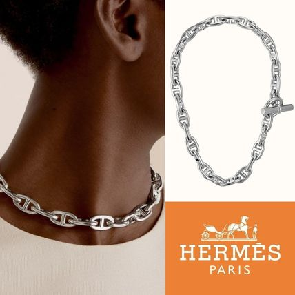 HERMES Chaine d'Ancre necklace large model Silver ネックレス