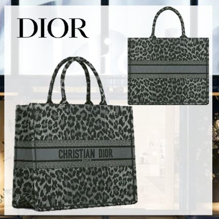 DIOR BOOK TOTE トートバッグ Mizza レオパード グレー 国内発送