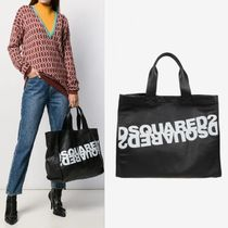 D SQUARED2(ディースクエアード) トートバッグ 【Dsquared2】Mirrored Logo Leather Tote ブラック