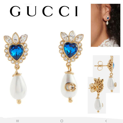 SALE★GGロゴ【送込GUCCI】ドロップタイプピアス★Pearl/青Heart