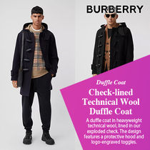 BURBERRY直営店 Check-lined Technical Wool Duffle Coat