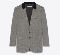 SINGLE-BREASTED JACKET IN HOUNDSTOOTH WOOL AND VELVET COLLAR
