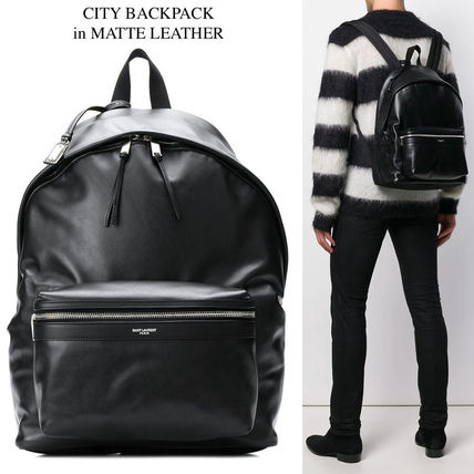 SAINT LAURENT CITY BACKPACK IN MATTE LEATHER