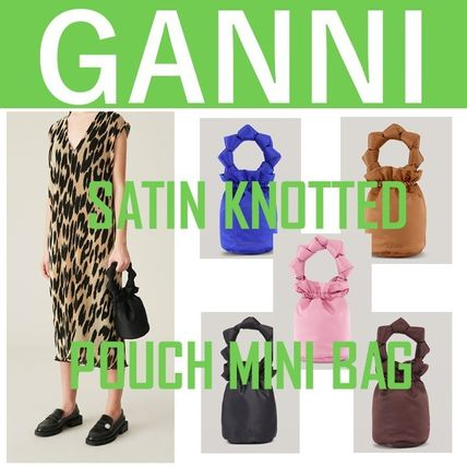 GANNI//SATIN KNOTTED POUCH MINI BAG《ロゴ付き》