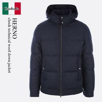 Herno check technical wool down jacket