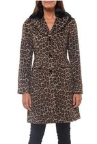 ★KATE SPADE★animal print coat with removable faux fur trim