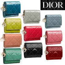 【DIOR】LADY DIOR LOTUS WALLET Canage Patent ミニ財布