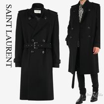 SAINT LAURENT Double-breasted trench coat in wool felt