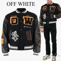 OFF WHITE Black bomber with all-over embroidery
