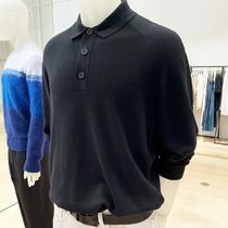 """COS(コス) ポロシャツ """"COS MEN"""" RELAXED-FIT KNITTED POLO SHIRT BLACK"""