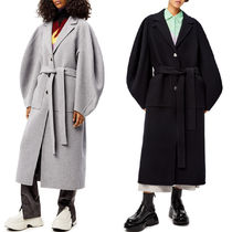 LW055 CIRCULAR SLEEVE BELTED COAT IN WOOL AND CASHMERE