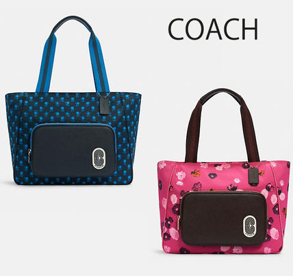 COACH◆Court Toteナイロン&レザートートバッグ A4可(追跡付き)