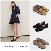 ★CHARLES & KEITH★Button-Embellished Twill Loafers /送料込