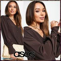 【ASOS】shirt with deep cuff in chocolate 送料/関税込み