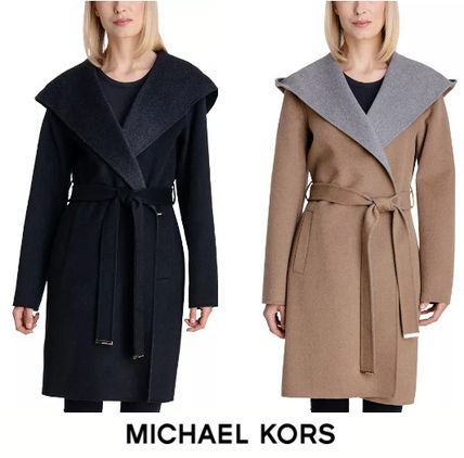 MICHAEL KORS★ Two-Tone Double-Face Belted Coat (追跡付き)