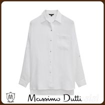 MassimoDutti♪LINEN SHIRT WITH ROLLED-UP SLEEVES