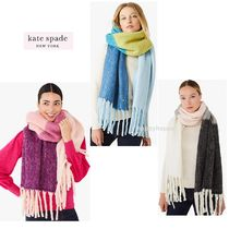 【kate spade】もっこもこ*colorblock yarn-dyed scarf