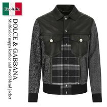 Dolce & Gabbana Multicolor nappa leather and wool jacket