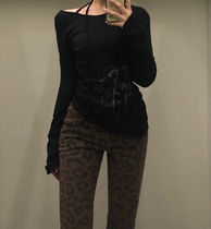 21FW☆ [TheOpen Product] / LEOPARD SIDE BUTTON SKINNY JEANS