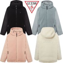 Guess(ゲス) ダウンジャケット ★GUESS★男女兼用 FLEECE PATCH HOODED DOWN