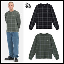 【STUSSY】DISCHARGED PLAID WAFFLE CREW / 長袖トップス