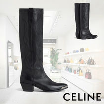 ■CELINE■ WESTERN BOOTS HIGH BOOT WITH METAL TOE CALFSKIN