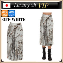 ★ 21AW Off-White FLORAL SNAP 花柄 プリーツスカート グレー