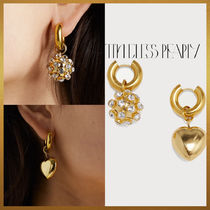 【Timeless Pearly】Heart & Crystal sphere ピアス フランス製