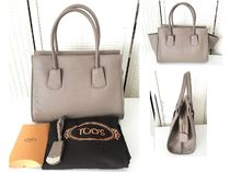 TOD'S(トッズ) ハンドバッグ 【1点即納可能】TOD'S NOTE SHOPPING レザーバッグ gray