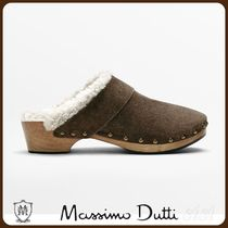 MassimoDutti♪SPLIT SUEDE-LINED WOODEN MULE CLOG SLIPPERS