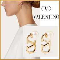 VALENTINO☆VLOGO SIGNATURE METAL AND RESIN EARRINGS☆送料込