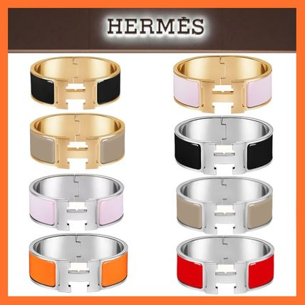 【HERMES】 エナメルブレスレット 《Clic Clac H》 Silver