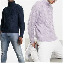 ASOS DESIGN textured cable knit roll neck jumper