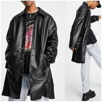 ASOS DESIGN faux leather longline trench coat