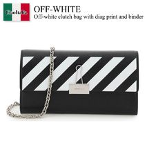 Off-white clutch bag with diag print and binder clip