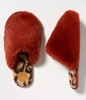 Anthropologie限定☆Colorblocked Faux Fur Slippers