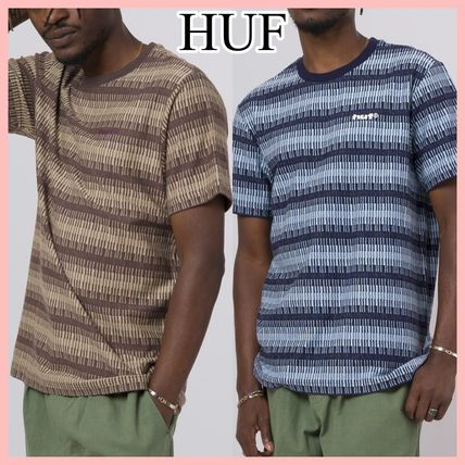 HUF SYNTHETIC ボーダー ロゴ 半袖 Tシャツ 2色 Brown Navy 送込