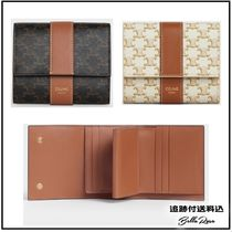 CELINE★SMALL TRIFOLD WALLET IN TRIOMPHE CANVAS AND LAMBSKIN