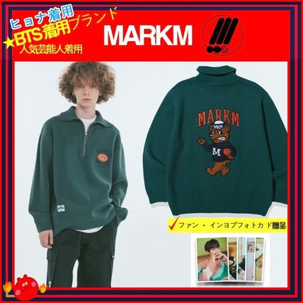 [MARKM] ◆ Half Zipup Rugby Bear Embroidery Knit ◆追跡付