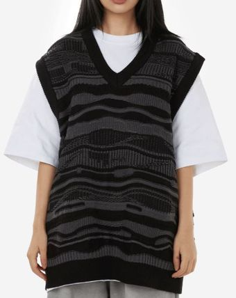 Raucohouse Stripe cable knitting vest
