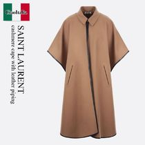 Saint Laurent cashmere cape with leather piping