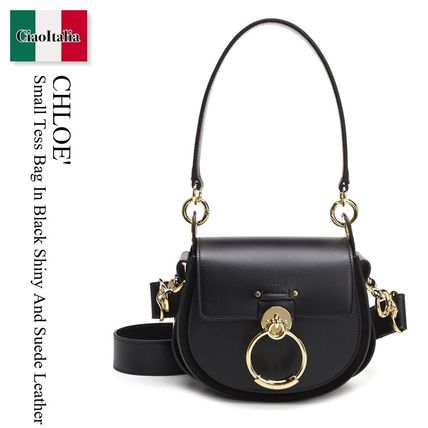 Chloe Small Tess Bag In Black Shiny And Suede Leather