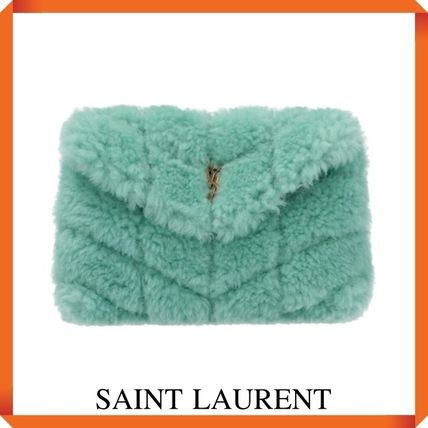 SAINT LAURENT PUFFER SMALL POUCH IN SHEARLING AND LAMBSKIN